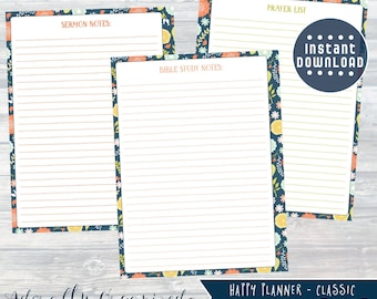 HAPPY PLANNER PRINTABLE Bible Study Planner Pages / Inserts - 7 x 9.25 | Navy Blooms | Create 365 | Me & My Big Ideas | Sermon Notes |Prayer
