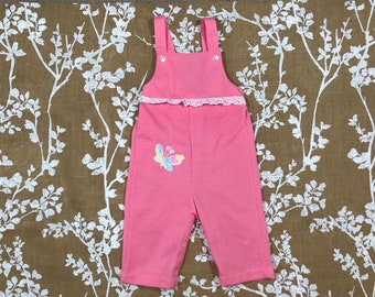 18m Butterfly Pink Healthtex Overalls Vintage Baby Girls Applique with Lace trim Made in USA