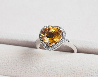 Silver wedding rings, natural citrine rings, heart cut rings, yellow gemstone, sterling silver ring