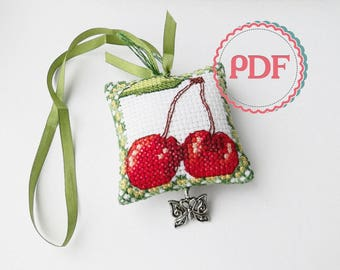 Scissor Fob PDF Stitching Pattern Fresh Fruit / Scissor Keeper / Scissor Minder / Embroidery Design