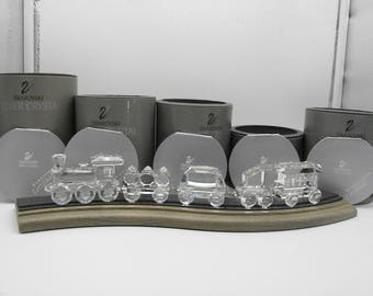 Swarovski Crystal COMPLETE Locomotive Train Set Figurines w Tracks, Original Boxes, Certificates. 1995