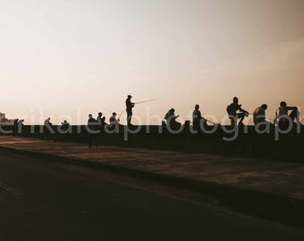 Fisherman silhouettes at Sunset on seawall in Havana, cuba travel photography, modern fine art photo, fishing decor