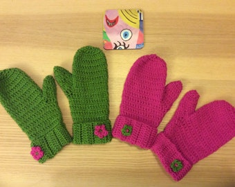Ladies crocheted woollen mittens
