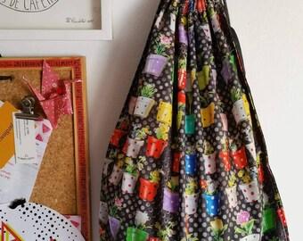 Fabric bag,, fabric bag with a print,, sack bag, sack bag with a print, flower sack bag