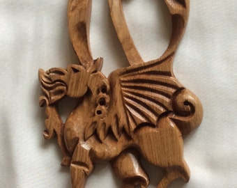 Welsh Love Spoon dragon and daffodil hand carved in olive wood