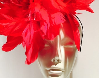 Red Fascinator- Kentucky Derby Hat- Red Feather Fascinator- Handmade in USA -Red Headpiece -Steampunk- Derby- Wedding- Ascot- Mardi Gras