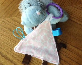 Baby Sensory Toy - Tag Toy - Taggie - Baby Toy - Baby Shower Gift - Pink Giraffe -  Brown, Light Blue, White - Girl - Crinkle Toy