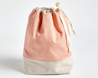 Drawstring Bag with Waterproof Lining in Nectarine by Made on Main VT
