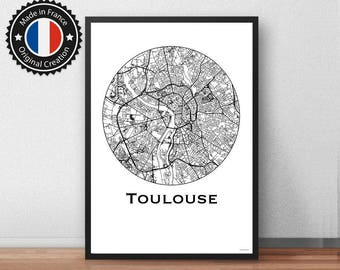 Poster Toulouse France Minimalist Map - City Map, Street Map