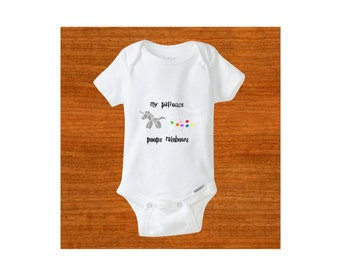 Baby bodysuit.  My patronus poops rainbows. Silver and gold glittered unicorn. Baby clothes. Newborn clothes. Baby shower gift.