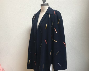 1940s Wool Embroidered Confetti Jacket