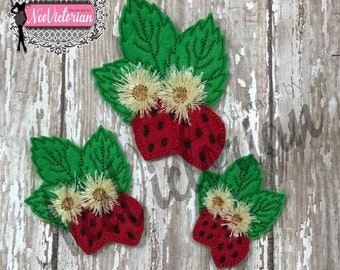 Strawberry bunch with Flowers Set if 3 Summer Fruit 3D