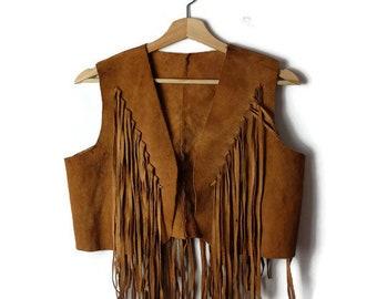 Damaged Vintage Camel Brown Fringe Suede Vest  from 1970's/Hippies Boho