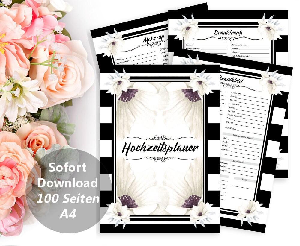 Druckbarer Hochzeitsplaner, DIY Planer Buch, Hochzeit Plan, JGA ...