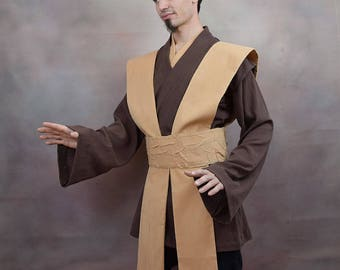 Jedi Costume Tunic set with Tabards and Obi - Cotton Crinkle