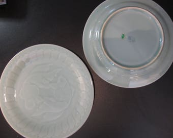 Chinese Lougquan Celadon Plates Vintage