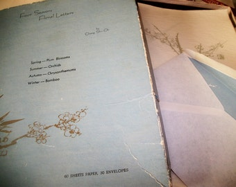 Four Seasons Floral stationery, Chang Shu-Chi vintage onionskin paper