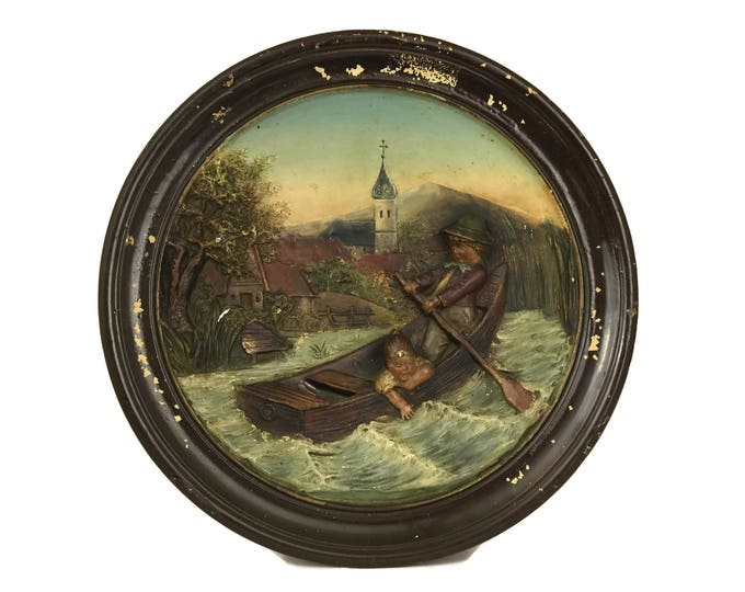 Bernhard Bloch Pottery Plate with Children in Boat. Stamped BB. Antique Wall Decor. 3D Relief Molded Ceramic Hanging Plaque.