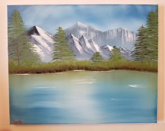 "Bob Ross Style Painting: 16""x20"" Calm Waters painting"