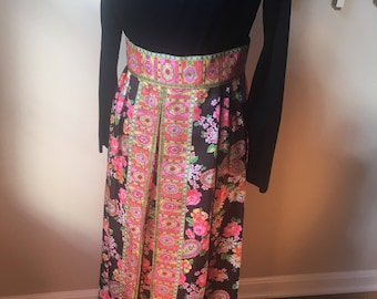 Pink paisley vintage maxi belted dress