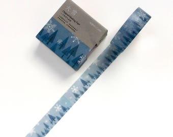 Blue Christmas Tree and Snowdrop Washi Tape - Winter