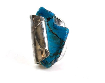 Vintage spoon ring, turquoise silverware jewelry