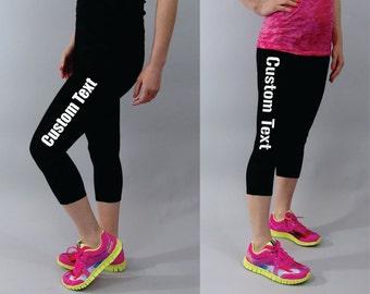 Workout Leggings Custom text Personalized running leggings  compression leggings  personalized gift  plus size custom design yoga capris