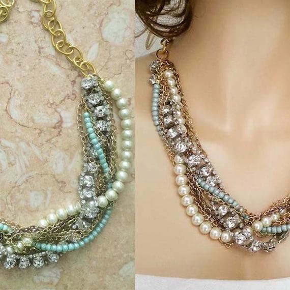 Chunky Turquoise Necklace Modern Wedding Jewelry Rhinestone