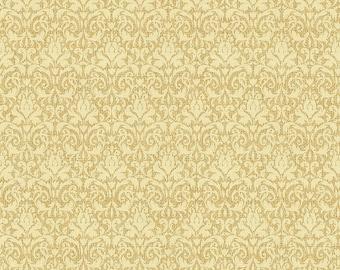 White Metallic Damask Fabric-Homespun Holidays-Benartex-Christmas Fabric-Damask Quilt Fabric-Damask Burlap Print Fabric-Quilting Fabric