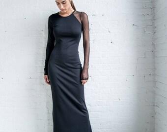 Elegant Evening Dress / Fitted Dress / Formal Dress / Cocktail Dress / Black Dress / Stylish Dress / Marcellamoda - MD0954