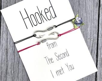 Long distance relationship gift, Hooked on you, Fish hook bracelet, Couples bracelet, Birthday gift for him, Friendship bracelet, A68