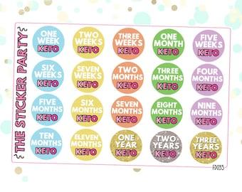 Keto Tracker Stickers Ketogenic Diet Milestone Achievements