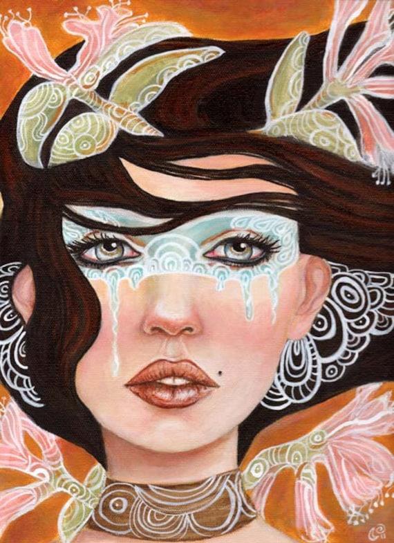 Woman Mask Pop Surrealism Portrait 11x14 Fine Art Print