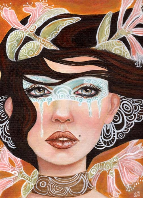 Woman Mask Pop Surrealism Portrait 11x14 Fine Art Print