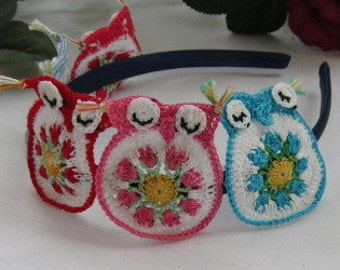 Blue Satin Headband Is A Perch For 5 Little Crocheted Owls Parakeet (teal), Light Blue, Red, Pink and Watermelon