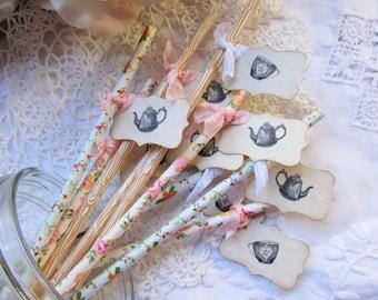 Tea Party Floral Favor Party Straws w/Flags - Choose Straws & Ribbons -Set of 18- Bridal Shower Teacup Teapots Party Favor