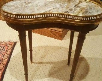 french louis xv marble top end table, 19th