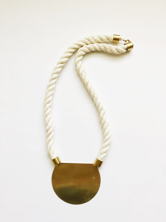 Brass Textile Rope Necklace