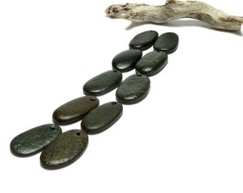 Beach Stones BLACK TAPERS Pebbles Genuine Drilled River Rock Charms Jewelry Organic Nature Finds Authentic Long Oval Stones DIY Beads