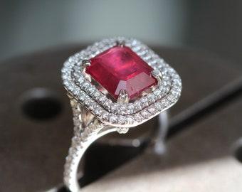 Rubis bague, bague de fiançailles de Ruby, Ruby et Diamond Ring, 14K or bague, bague diamant, cadeau d'anniversaire, cadeau pour maman, bague en or blanc