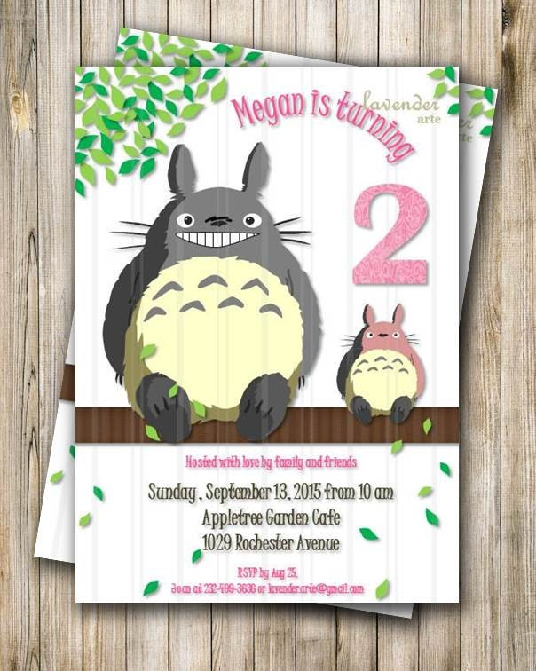 Totoro Birthday Party Invitation Pink Totoro Party Invite