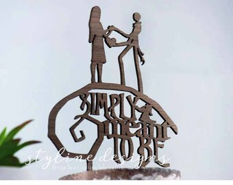 Jack and Sally Cake Topper - Simply Meant to Be - Couple Event Cake Topper - Laser Cut on Wood
