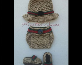 Crochet Gucci, Gucci Inspired Set, Newborn set, photo prop, baby boy, diaper cover, crochet diaper cover, bucket hat, baby gift, knit gucci