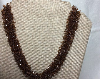 Golden Brown Swarovski Crystal Necklace Makes a Great Birthday or Mother's Day Gift