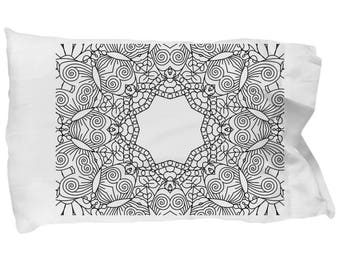 DIY fun. Pillowcase for adults & kids to color. Color own