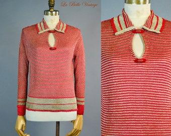 1920s Metallic Gold Bullion Red Sweater Vintage Crochet Knit Flapper Top ~ Bakelite Button Trim