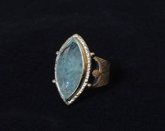 Hampton. silver and 18k gold and aquamarine ring