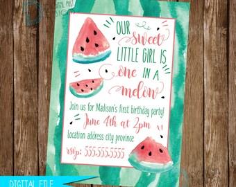 Watermelon Invitation, Watermelon Birthday Invitation, Watermelon Invite, Watermelon Birthday Party, One in a Melon, Printable Invitation