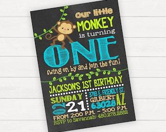 Monkey Birthday Invitation, Monkey Birthday Party, Monkey Invitations, Birthday Invitation First Birthday, 1st Birthday Boy, Monkey See