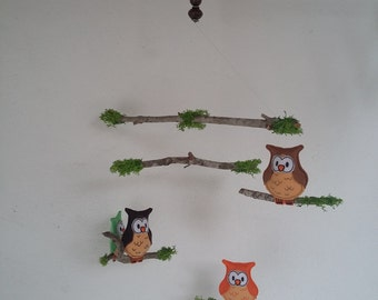 Móvil de Búhos de Fieltro. Decoración para el Hogar. //Owls Felt Mobile. Home Decoration. 4  Little  Owls in your Room.